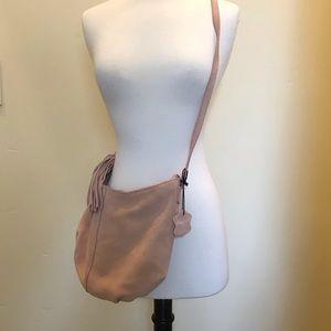 Margot genuine pink suede purse with brass buckle.
